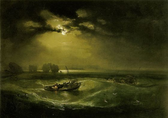 Turner, William: Fishermen at Sea. Moonlit Seascape Fine Art Print/Poster. Sizes: A1/A2/A3/A4 (00566)